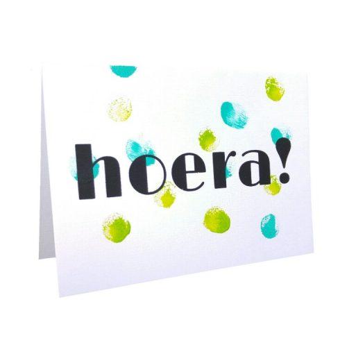 felicitatiekaart met blauwe en groene stippen