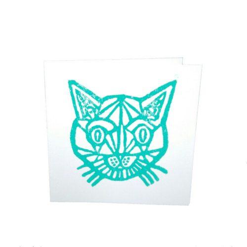 kaart met linosnede van een kat