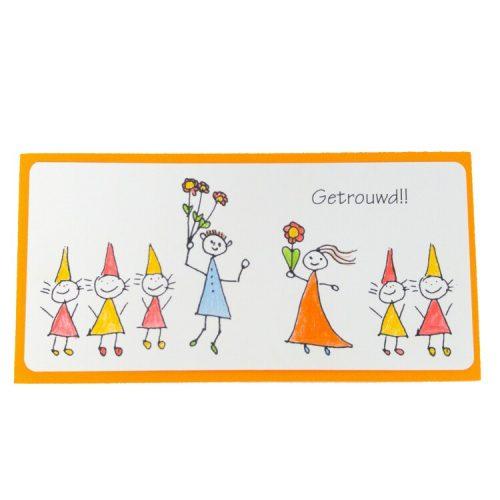 getrouwd l kaart voor een huwelijk met ingekleurde tekening