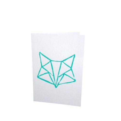 kaart met linodruk van een vos