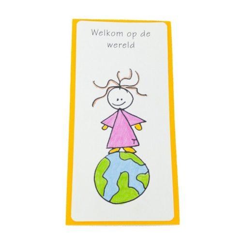welkom op de wereld handgemaakt geboortekaartje