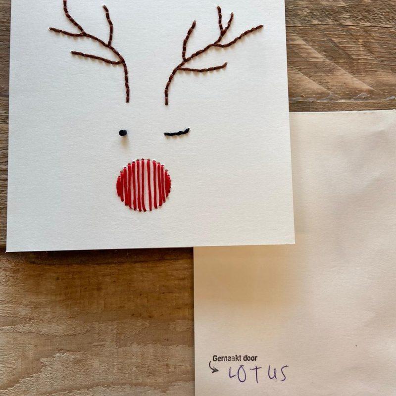 handgemaakte kerstkaart met naam van de maker