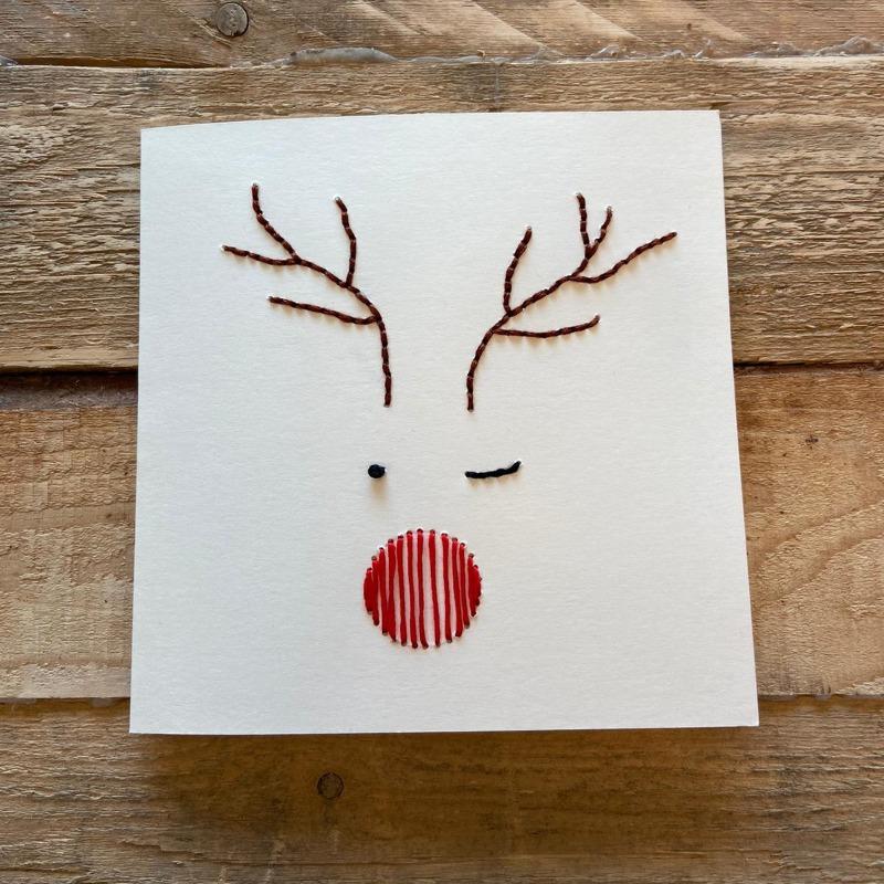 handgeborduurde kerstkaart met Rudolph the Red Nosed Reindeer