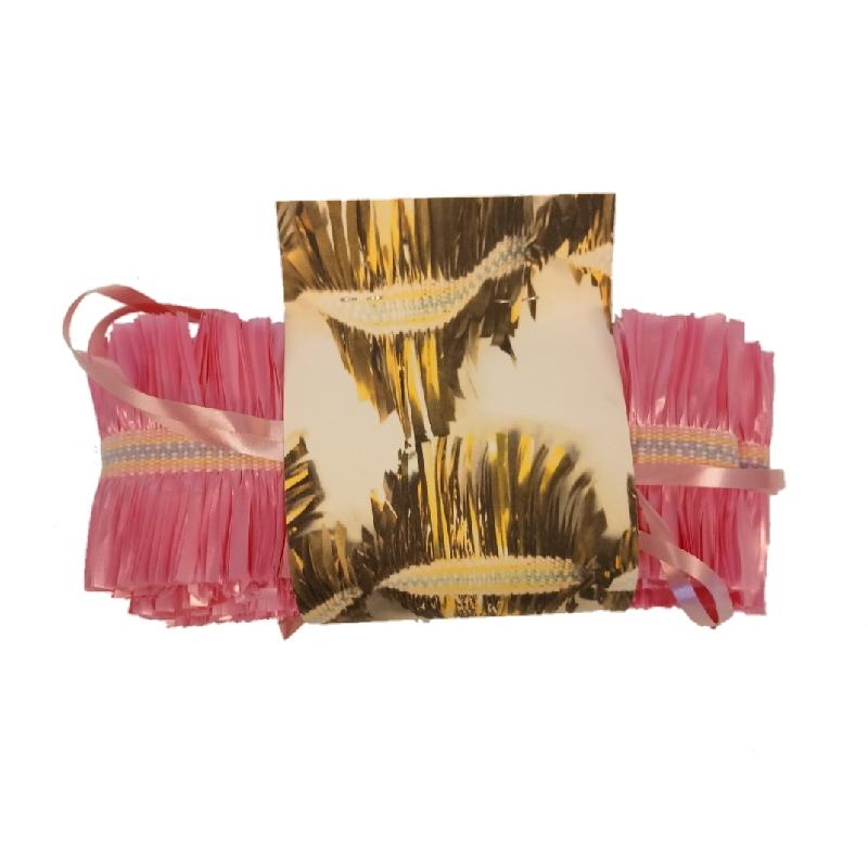 slinger geweven met roze cadeaulint